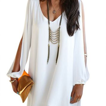 Viwenni Sexy Womens V-Neck Loose Irregular Hem Summer Chiffon Short Beach Dress,White,X-Large
