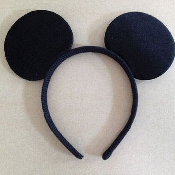 Minnie Mouse Ears Headband Black Mickey Mouse Ears Plush Velvet Black Mickey Mouse Ears no bow Disneyland