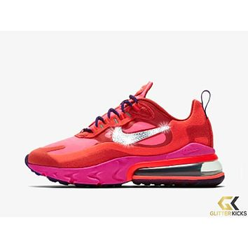 Womens Nike Air Max 270 React + Crystals -Mystic Red/Pink Blast/Habanero Red/Bright Crimson