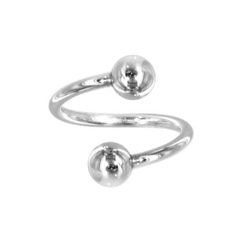 Solid 14kt White Gold Spiral Twister Belly Ring
