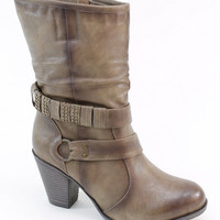 Taupe Wrap-Strap Boot