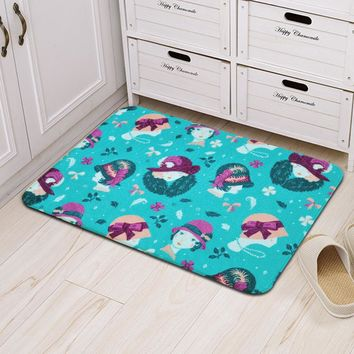 Floor Mat Modern Fashion Lady Printed Non-Slip Shower Mats Bathroom Carpet Bath Mat Kitchen Door Pad Toilet Rugs Home Decoration