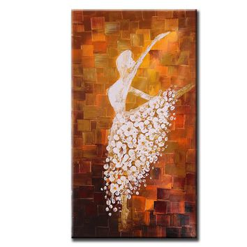 60*120cm Unframed Hand Painted Abstract Oil Painting Ballet Dancer Picture Canvas Paint Wall Art for Living Room Decoration