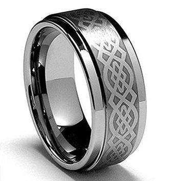 King Will 8mm Mens Tungsten Carbide Ring Laser Etched Celtic Knot Polish Edge Wedding Band(13.5)
