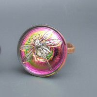 Dragonfly ring, fantasy jewelry, glass button ring, statement ring, adjustable ring, copper jewelry, pink and green colored