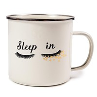 Gold Silver Retro Coffee Mug, Sleep in with Beauty Lashes