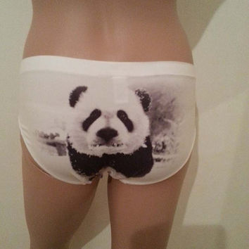 Panties - PANDA in Snow  - size S / M / L unique gift - women lingerie - Printed Panties