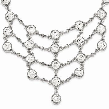 Silver-tone White Crystal Drape W/ 3.5in Ext. Necklace