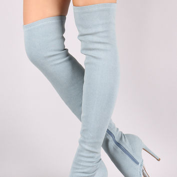 Shoe Republic LA Lucite Inset Fitted Denim Stiletto OTK Boots