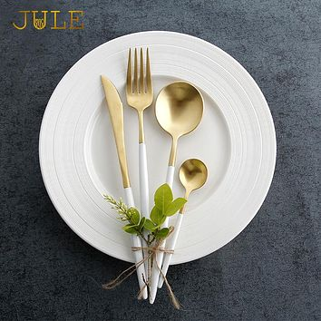 24pieces ccutipol Style Gold Cutlery Set Dining Knive Forks Dinnerware Sets 18/8 Stainless Steel Golden Restaurant Tableware Set