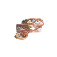 Vintage Tooled Leather Belt / cowboy leather belt / tooled leather belt / novelty hippy belt