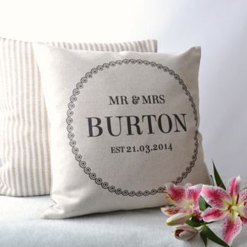 'Mr And Mrs' Cushion Cover