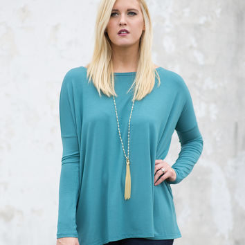 PIKO Long-Sleeve Bamboo Top - Teal