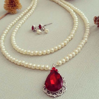 Pearl Necklace with Drop Red Rhinestone Vintage Style Wedding Jewelry Set Bohemian Vintage Bridal Pearl Necklace Earrings Set