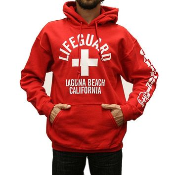 Laguna Beach Lifeguard Pullover Hooded Sweatshirt Red