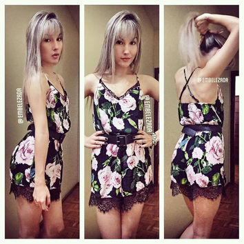Chiffon Printed Jumpsuit Lace Women floral Rompers Sunflower Print Playsuit Overalls