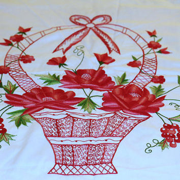 "Gorgeous Bedspread Coverlet Lightweight ""Montanella"" Embroidered Flower Basket Design 