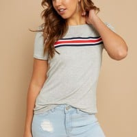 Heather Gray Athletic Tape Striped Pattern Tee