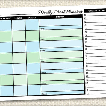 Printable Weekly Meal Planning with Grocery List - Mens Blue and Green Meal Planner - Instant Download
