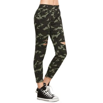 Women Trousers Casual Women's Pants Elastic Waist Army Green Camo Print Ripped Pants