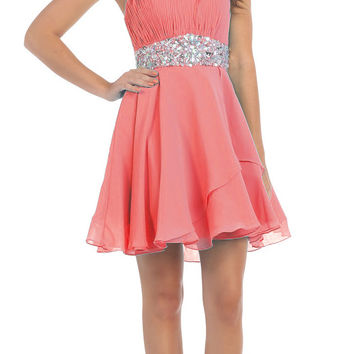 Short Chiffon Semi Formal Dress Coral Rhinestone Waist