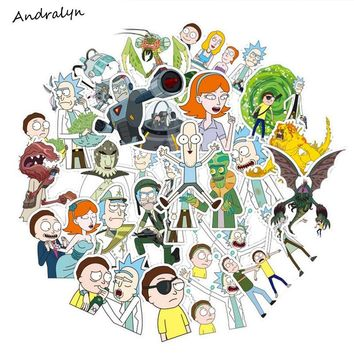 35Pcs/bag American Drama Rick and Morty Funny Sticker Decal For Car Laptop Bicycle Motorcycle Notebook Waterproof Stickers