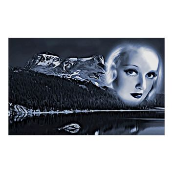 Woman By The Lake Abstract Surreal Art poster