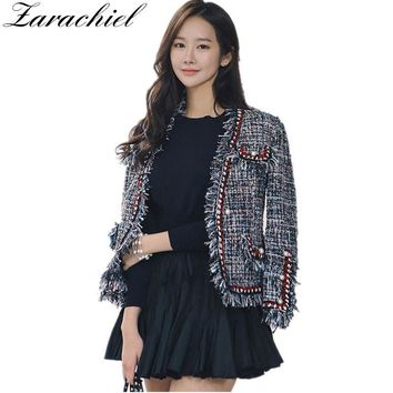 Trendy Zarachiel Fashion Runway Tweed Jacket Coat 2018 Autumn Winter Women Fringed Trim Long Sleeves Front Pockets With Pearls Detail AT_94_13