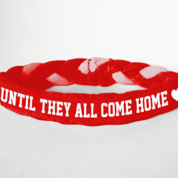 Red Friday Custom Military Support Bracelet, Until they all come home- Army, Air Force, Navy, Wife, Girlfriend, Fiance (women, teen girl)