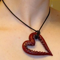 Sucker for Love Tentacle Heart Necklace by Gearbunny on Etsy