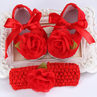 2016 Girl Party Baptism Baby Sapato Bebe Menina Crochet Headband set,Shabby Flower Newborn Shoes Hair Accessories Zapatos Bebe