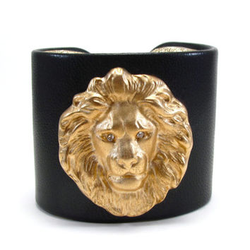 Black Leather and Gold Lion Head Cuff Bracelet - Upcycled Genuine Vintage Jewelry - Leo Astrology Sign / Zodiac Jewelry