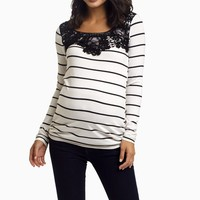Ivory-Striped-Crochet-Neck-Top