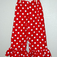 Red and white Polka Dot ruffled pants or capris Boutique clothing size 12m, 18m, 2t, 3t, 4t, 5, 6, 7, and 8