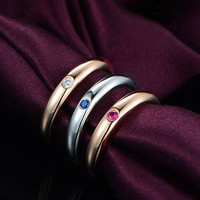 Diamond,Sapphire,Tourmaline Wedding Band Trio Sets Anniversary Ring 18K Rose Gold