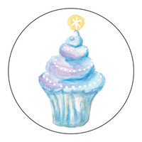 Star Cupcake Blue Stickers - 1 Sheet of 24