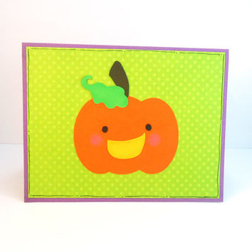 Happy Halloween card, kawaii pumpkin face, jack o lantern card, trick or treat, cute pumpkin, card for child, handmade, green orange purple