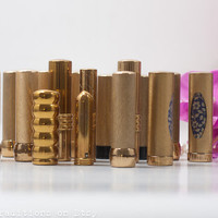 17 Lipstick Tube Lot, Vintage Gold Metal Cases, Collectible Cosmetics Makeup from 60s & 70s, Vintage Gold Tone Makeup Cases, Lipstick Holder