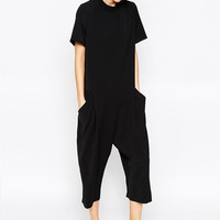 Fashion 2016 Womens Casual Jumpsuit Summer European Short Sleeve O-Neck Playsuit Loose Calf Length Black Overalls One Piece