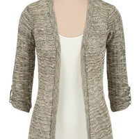 Marled 3/4 Sleeve Open Front Cardiwrap