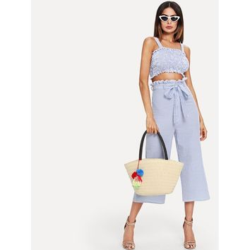 Shirred Striped Top & Belted Culotte Pants Set