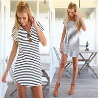 Hot Sale Stylish Simple Design Classics Stripes Print Casual One Piece Dress [4919440516]