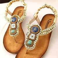 Beads Embellished Flat Sandals YET060502