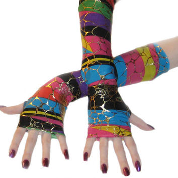 Rainbow safari - Arm warmers multicolored striped with gold crackle print fingerless gloves wrist cuffs long sleeves stripes cyber raver