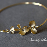 Orchid Bracelet, Orchid Bangle, Flower Bangle, Gold Bangle, Gold Flower Bracelet, Bridal Gift, Stacking Jewelry