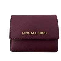 Michael Kors Jet Travel Leather Credit Card Case ID Key Holder Wallet in Plum