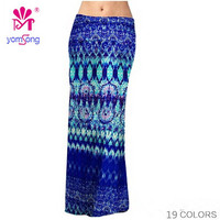 Yomsong High Waisted Floral Print Maxi Skirt Women's Floor-Length Skirt Plus Size 16 Colors US Size 2 to 16 Sexy Skirt 236