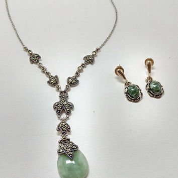 Sterling Silver Tear Drop Jade pendant with marcasites and matching sterling green stone earrings