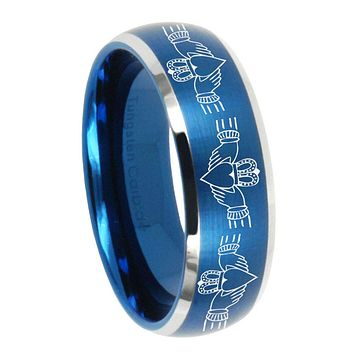 8MM Brush Blue Dome Irish Claddagh Tungsten Carbide 2 Tone Laser Engraved Ring