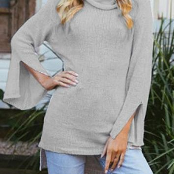 Grey High-Low Slit Bell Sleeve High Neck Casual Sweater